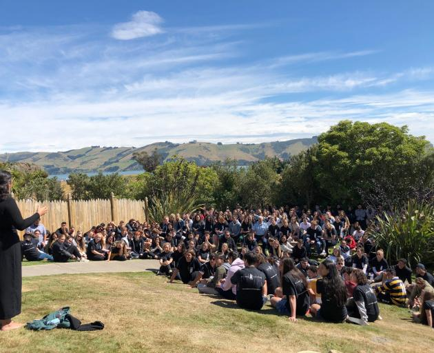 Te Roopi Maori president Taylor Terekia addresses first-year Maori students at Otakou marae...