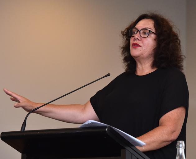 Tomorrow's Schools task force member Barbara Ala'alatoa addresses a public meeting in Dunedin last night. Photos: Peter McIntosh