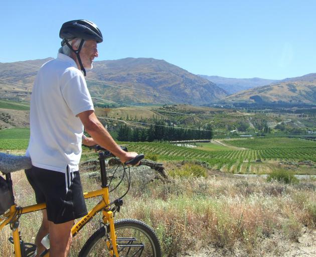 Push Bike Trail boss Tim Hawkins, of Bannockburn, takes in the Central Otago landscape