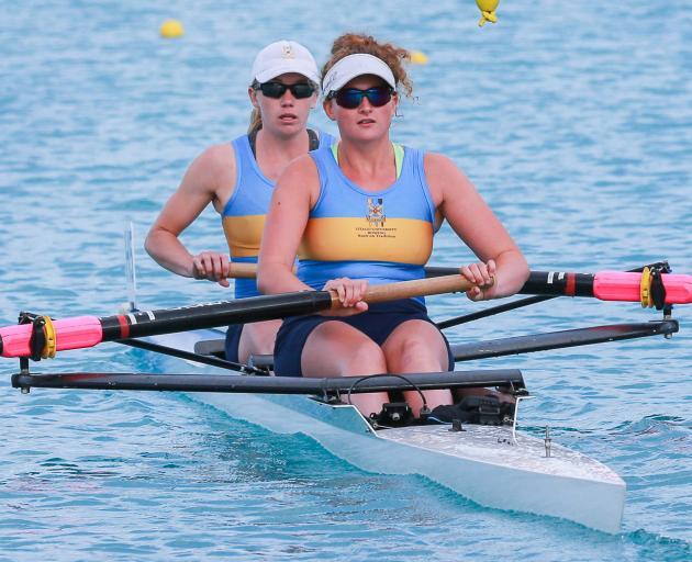 The Otago University club's senior women's pair, Caoimhe Dempsey (front)  and Sydney Telfer,...