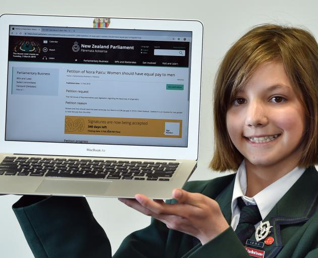 Columba College year 9 pupil Nora Paicu has launched a petition on the New Zealand Parliament website, calling for gender pay equality. Photo: Peter McIntosh