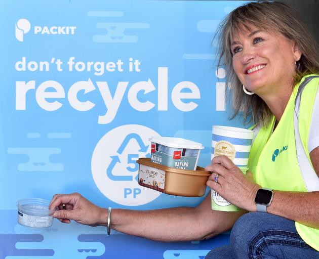 Dunedin firm Packit Packaging sales director Jan Swann at yesterday's launch of a city trial to...
