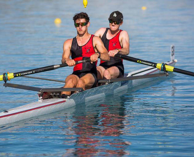 Scott Bezett (front) and Kyle Hughes, of North End Rowing Club,  give their all at the South...