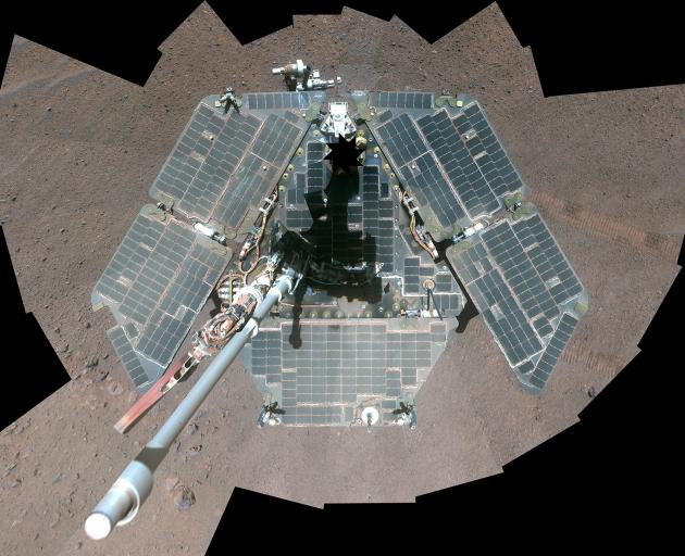 A self-portrait of Nasa's Mars Exploration Rover Opportunity from a combination of multiple...
