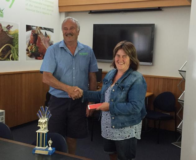 Joy Dodd, who with husband Nathan took the top prize in the Gore A&P Show carcass competition,...
