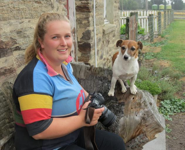 Strath Taieri Young Farmers Club member Georgie Hendrie, of Hyde, often uses her dog Swag as a model for her photographs. Photo: Yvonne O'Hara