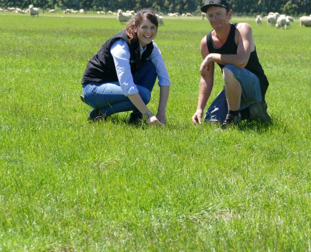 Winton A&P Association farm manager Kane Gillan with Barenbrug Agriseeds pasture systems agronomist Shannon Morton. Photo: Ken Muir