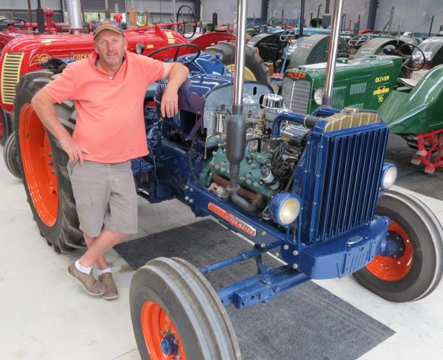 Allan Dippie has more than 100 tractors in his collection, which he keeps in a shed at Wanaka. This 1958 Fordson Super Major has a V8 engine tractor - a tractor hot rod. Photos: Yvonne O'Hara