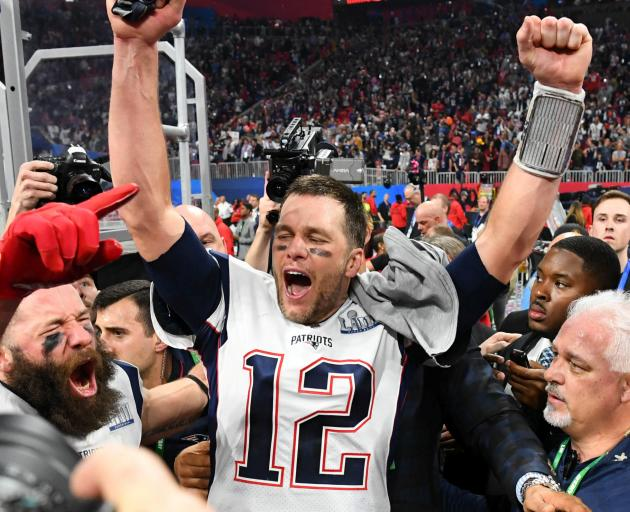 New England Patriots quarterback Tom Brady reacts after winning the Super  Bowl LIII against the Los dad96368a