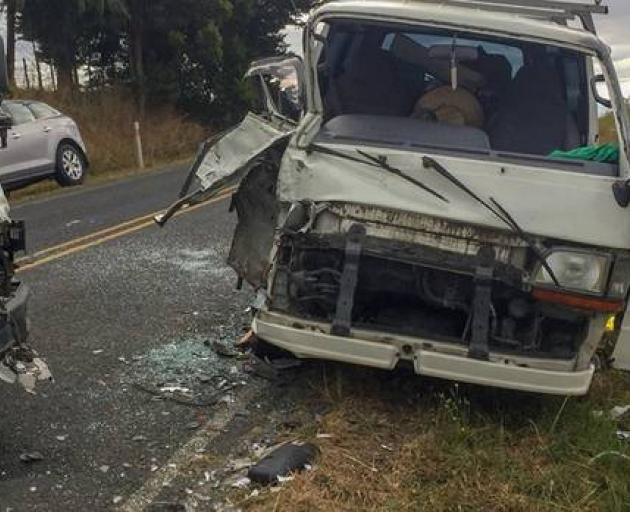 Somehow the occupants of these two vehicles managed to escape serious injury after the crash on the outskirts of Hamilton. Photo: Waikato police