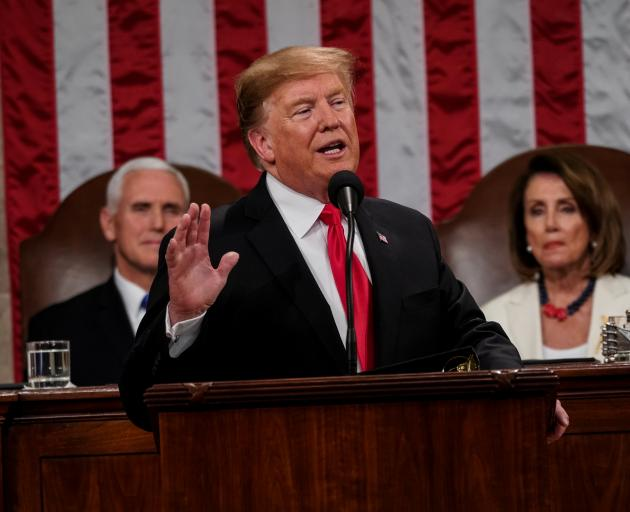President Donald Trump delivered the State of the Union address, with Vice President Mike Pence and Speaker of the House Nancy Pelosi. Photo: Reuters