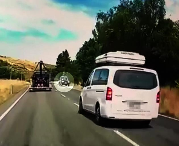 A rental van forced a vehicle (circled) off the road. Photo: Supplied