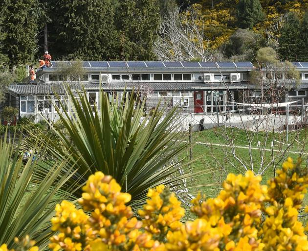 A solar array is installed at Waitati School last year. Photos: Gregor Richardson