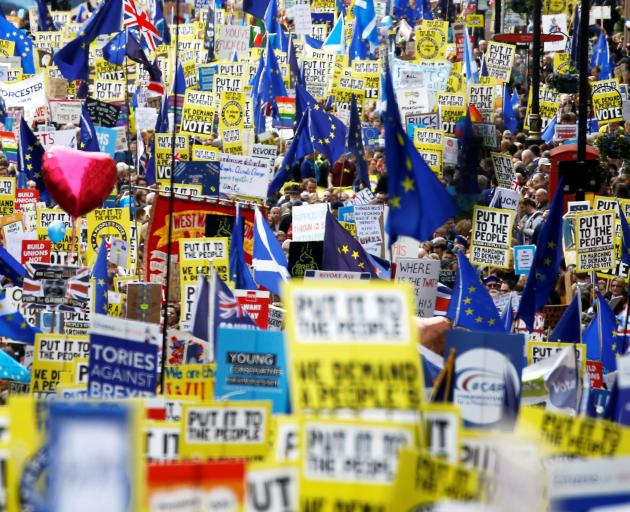 Protesters from acorss Britain filled the streets of London to demand a second vote on Brexit....