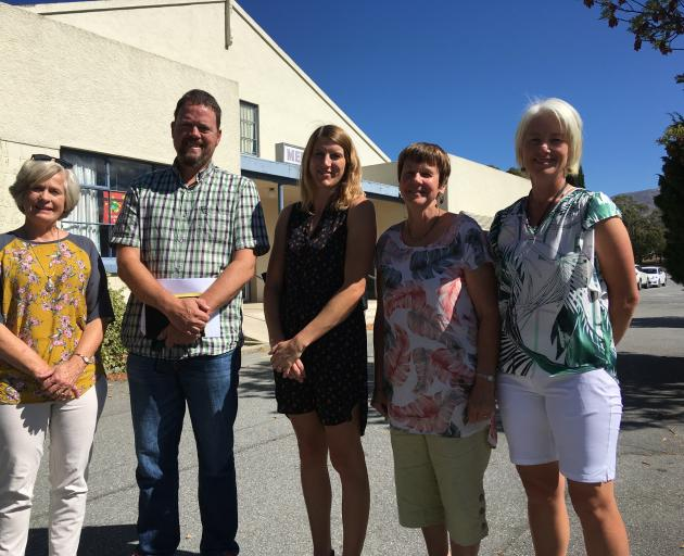 Cromwell Cultural Centre Group members (from left) Gillian Watt, James Dicey, Jessie Sutherland, Jocelyn Johnstone and Jackie Hamilton in front of the Cromwell Memorial Hall. The group want to be delegated authority by the Cromwell Community Board so the