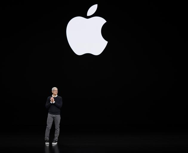 Apple CEO Tim Cook speaks at the Steve Jobs Theater during an event to announce new products . Photo: AP