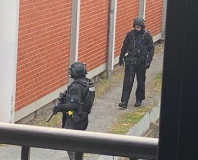 Armed police were earlier stationed outside the Dunedin mosque in Clyde St. Photo: Supplied