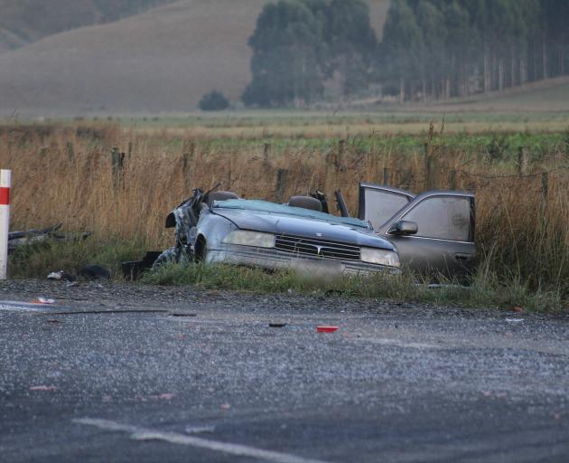 The crash site on Manuka on SH8 near Milton. Photo: John Cosgrove