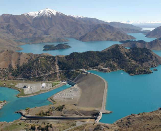 But Meridian Energy's Waitaki catchment at the end of February was at 90% of its historical average; pictured, Benmore Dam. Photo: ODT files