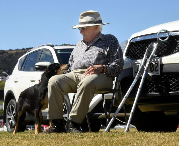 PL Anderson and Miss kick back after a run at the Wanaka A&P show. Photo: Stephen Jaquiery