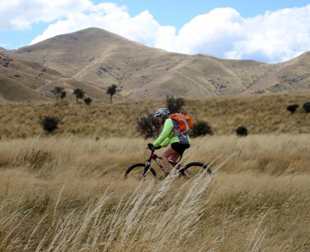 Liz Crook, of Dunedin, enjoys a back-country downhill cruise.
