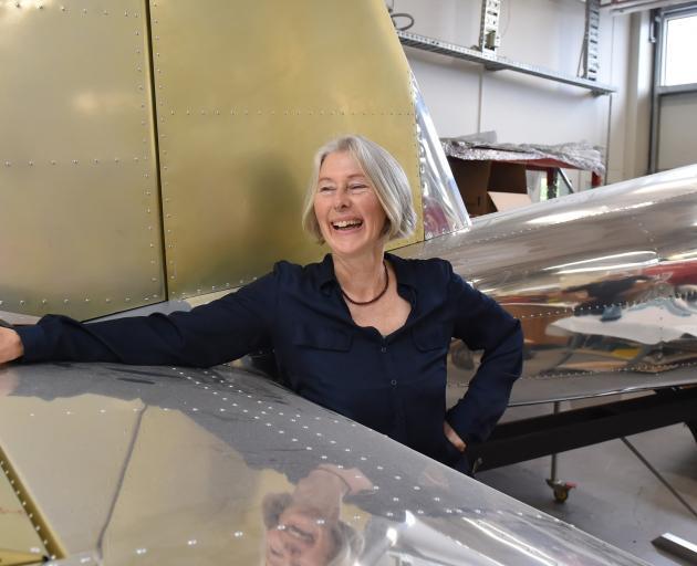 Otago Polytechnic engineering student Charlotte Flaherty with the polytech's Van RV-12 kitset plane. Photo: Gregor Richardson