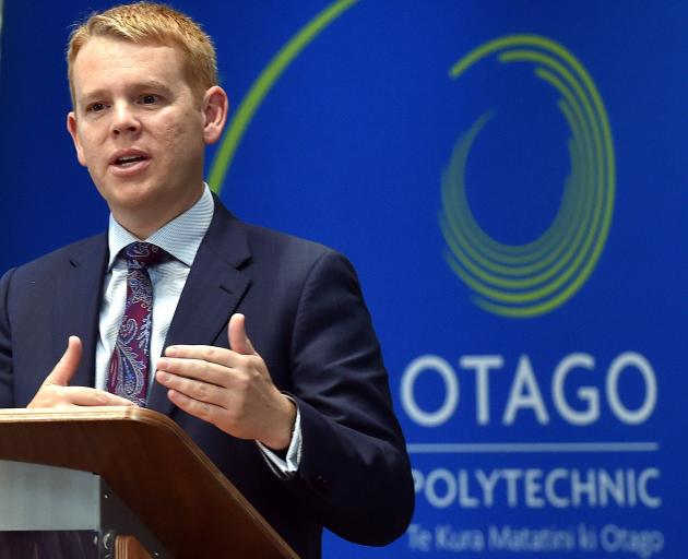 Education Minister Chris Hipkins at the Otago Polytechnic earlier this month. Photo: Peter McIntosh