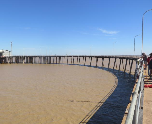 The Derby jetty, a sweeping circular-shaped pier constructed on extremely high stilts, is the...