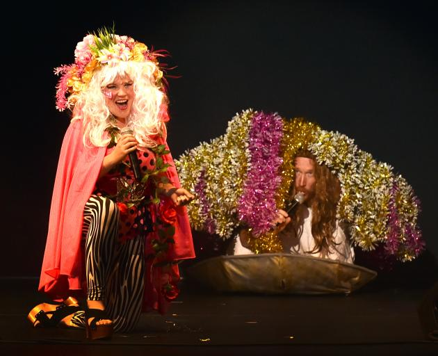 MCs Tahu Mackenzie and Jesse Griffin, the latter taking refuge in a clam, usher in last night's Fringe Festival Showcase at the Regent Theatre. Photo: Peter McIntosh