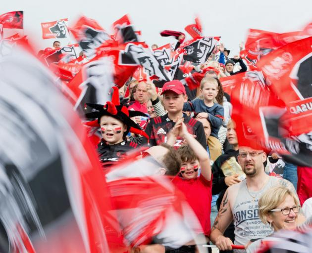 Crusaders fans show their support prior to the round four Super Rugby match between the Crusaders...