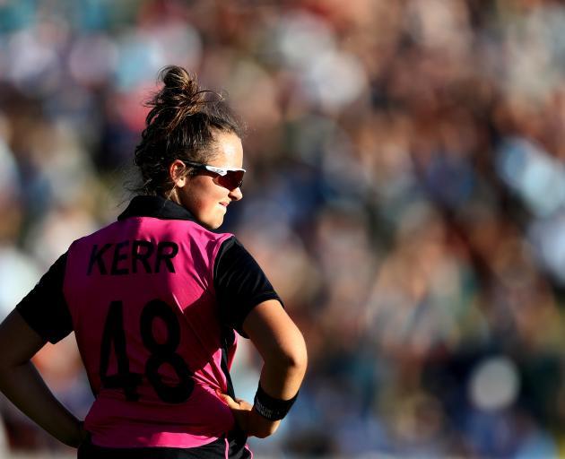 Amelia Kerr在最近的T20系列赛中对抗印度。照片:Getty Images