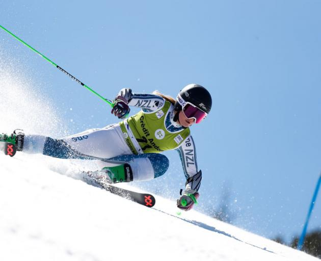 Queenstown skier Alice Robinson is action at the World Cup final giant slalom in Soldeu, in Andorra, yesterday. Photo: Getty Images