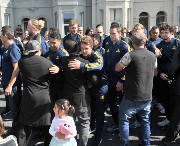 The Highlanders show its support for the Muslim community during a visit to Dunedin's Al Huda mosque today. Photo: Christine O'Connor