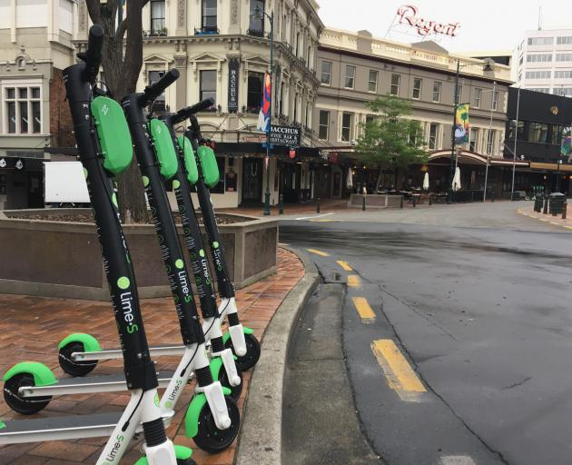Lime e-scooters in the Dunedin Octagon in January 2019. Photo: James Hall