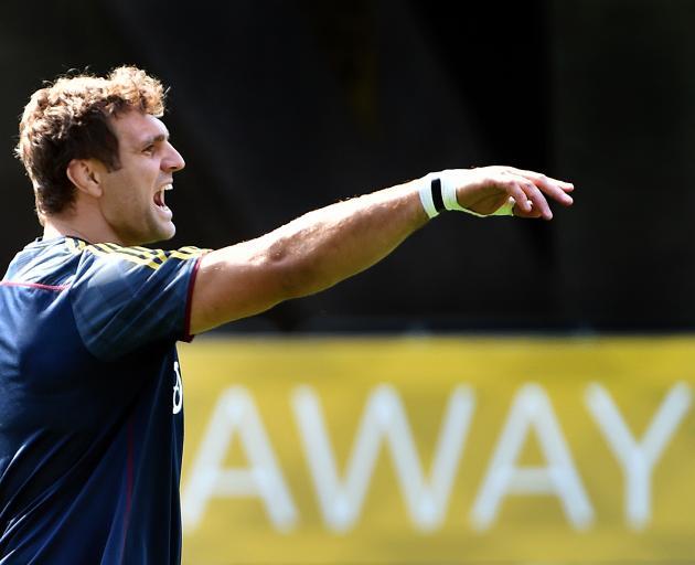 Highlanders co-captain Luke Whitelock at training at Forsyth Barr Stadium yesterday. PHOTO: PETER...