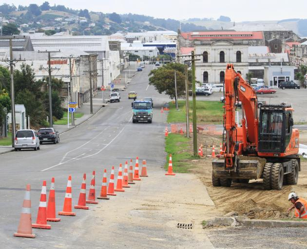Construction at the entrance to Oamaru Harbour. PHOTO: HAMISH MACLEAN