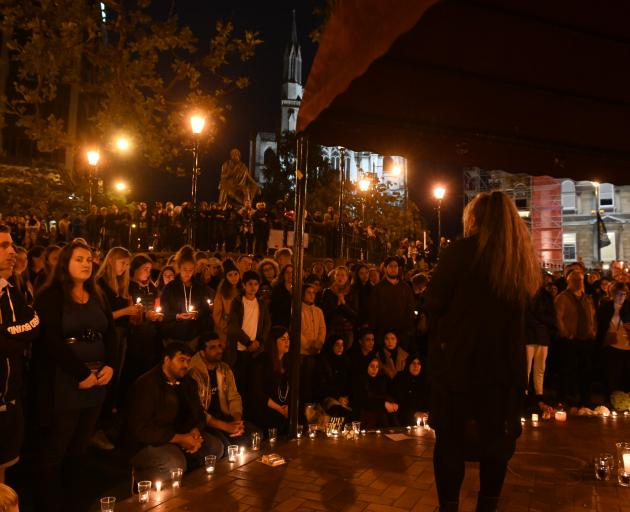 Hundred of people gather in Dunedin's Octagon this evening. Photo: Linda Robertson