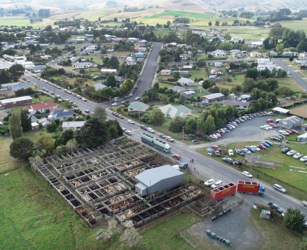 A aerial view of the saleyards on the outskirts of Owaka.
