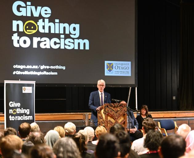 Chief Human Rights Commissioner Paul Hunt speaks at the University of Otago Union Hall yesterday....