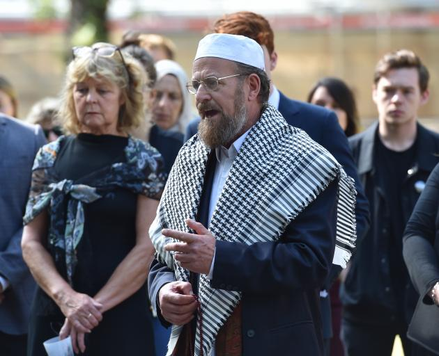 Dunedin Multi-Ethnic Council president Paul Gourlie speaks near the Peace Pole in the Otago...