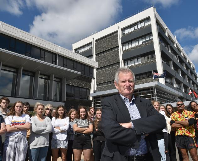 Otago Polytechnic chief executive Phil Ker, pictured with students, is putting forward his own...