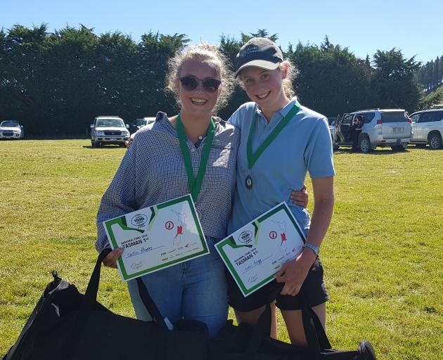Rangiora High School pupils Caitlin Rhodes (left) and Luci Grigg celebrate after winning the Tasman region Junior Young Farmer of the Year contest on Saturday. Photo: New Zealand Young Farmers