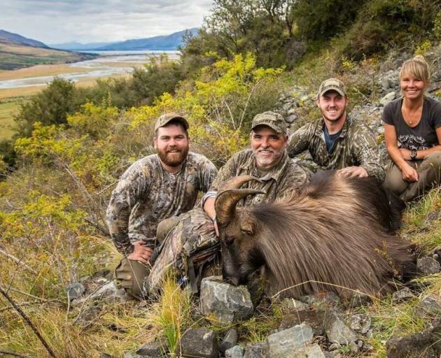 Stacey Shuker and clients after a successful tahr hunt. Photo: Glen Dene Hunting