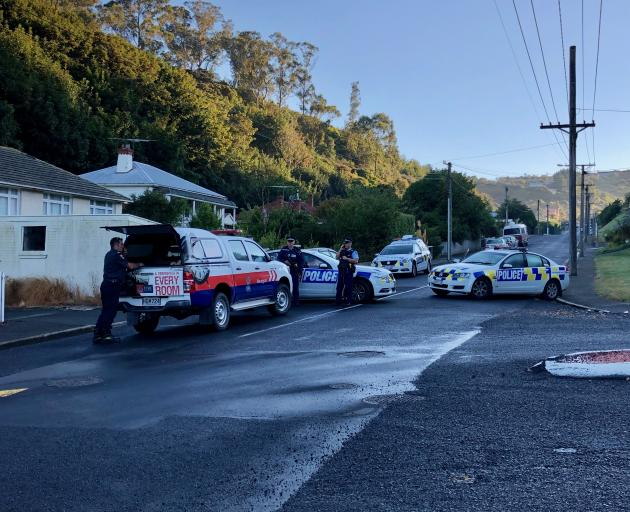 Police on Somerville St this morning. Photo: Tim Miller