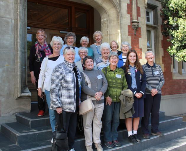 Former Otago Girls' High School pupils (front, from left) Kay Klitscher, Joan Webster, Barb Baillie, Mika Cottle (school prefect), Judy Knox; (middle, from left) Alison Timms, Hilary Jaket, Jennifer McKinnon, Jan Palmer; (rear, from left) Jocelyn Harris,