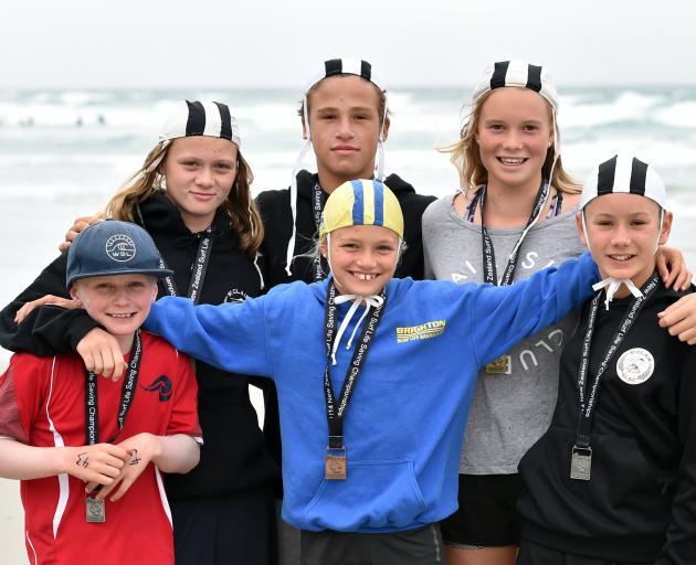 Young Otago surf life-savers. PHOTO: PETER MCINTOSH
