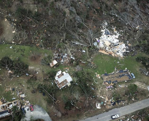 This aerial photo shows damage caused by the powerful tornado in Beauregard, Alabama. Photo: AP