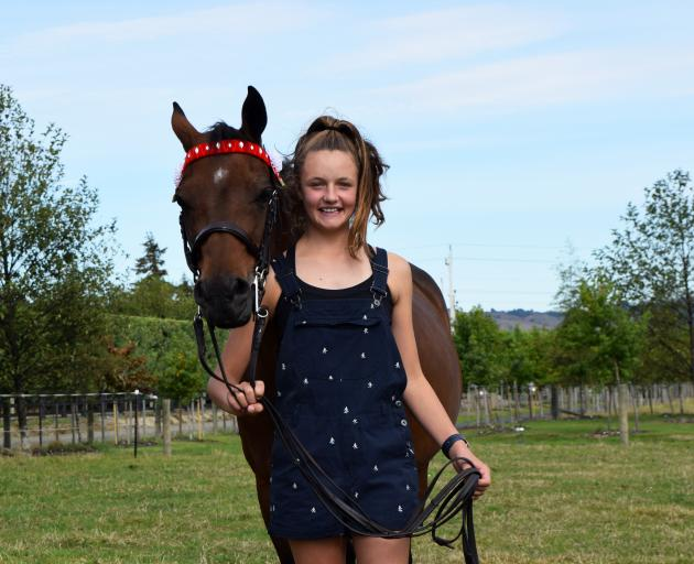 Ella Walker (13), of North Taieri, will represent New Zealand in the 2019 Grand National Saddle Horse and Rider Championships in Sydney next week but her 9-year-old pony Foxy will stay at home. Photo: Shawn McAvinue