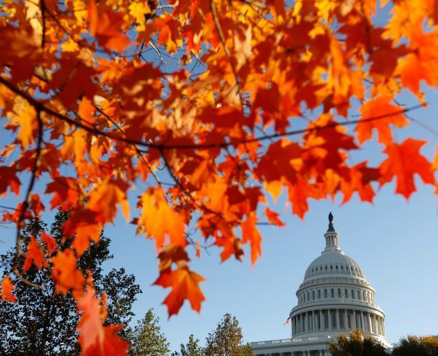 US Capitol seen through autumn leaves in Washington DC. Photo: Reuters
