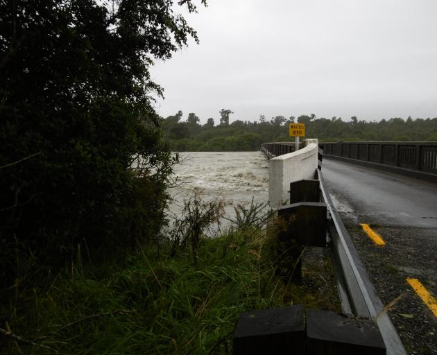 A swollen Waiatoto River on the Haast-Jackson Bay Rd this morning. Photo: Katherine Blakeley